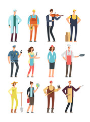 Man and woman workers with tools in uniform. Cartoon vector characters of different professions isolated