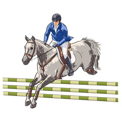 A rider on a horse is jumping over an obstacle.