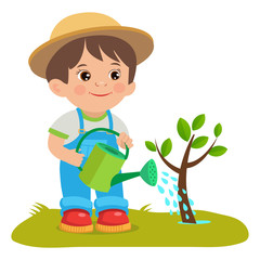 Growing Young Gardener. Cute Cartoon Boy With Watering Can. Young Farmer Working In The Garden. Garden Watering. Cartoon Vector Illustration.