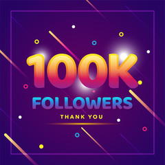 100k or 100000, followers thank you colorful background and glitters. Illustration for Social Network friends, followers, Web user Thank you celebrate of subscribers or followers and likes
