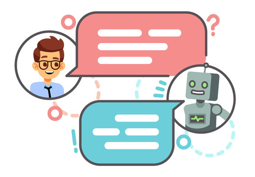 Human conversation with robot on smartphone. Chatting with bot, chatbot vector concept