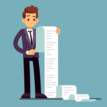Businessman or male lawyer reading long paper list. Business questionnaire and document report vector concept