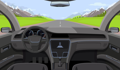Vehicle salon, inside car driver view with rudder, dashboard and road, landscape in windshield. Driving simulator vector illustration