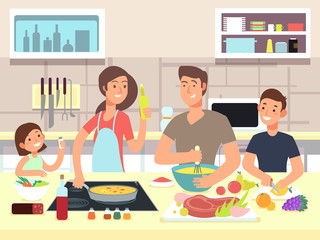 Happy family cooking. Mother and father with kids cook dishes in kitchen cartoon vector illustration