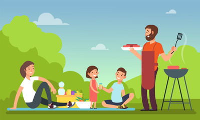 Family at summer picnic. People in bbq party eating food. Grill and barbeque outdoor vector concept
