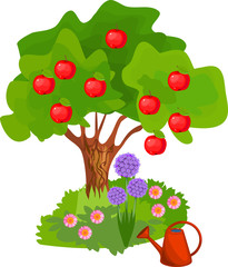 Cartoon apple tree with green crown, red fruits and grass near the trunk on white background