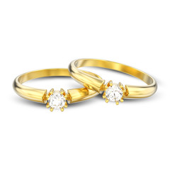 3D illustration isolated two yellow gold engagement solitaire double prong basket diamond rings with shadow