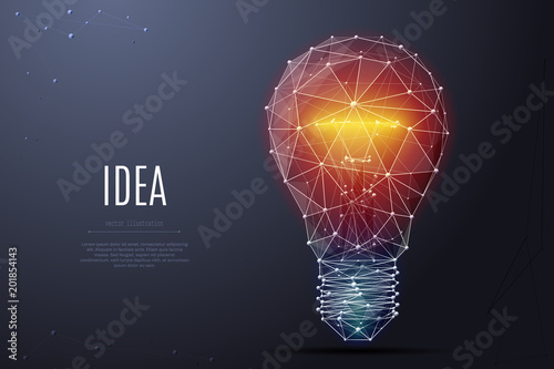 Vector Incandescent Lamp With Bright Light Low Poly Wireframe And Points Polygonal 3D White