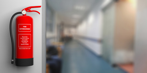 Fire extinguisher on a wall, blur hospital corridor background. 3d illustration