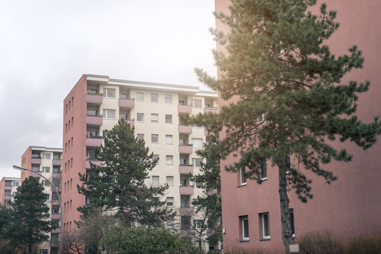 social housing in Berlin, red skyscrapers