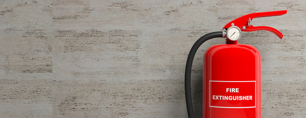 Fire extinguisher isolated on stone wall background. 3d illustration