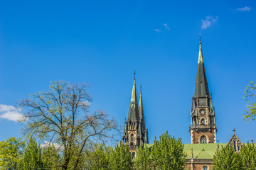 Spring park and gothic towers on blue sky background