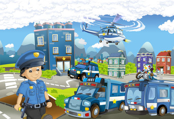 Cartoon stage with different machines for police duty and policeman - colorful and cheerful scene - illustration for children