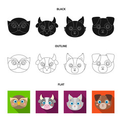 Owl, cow, wolf, dog. Animal muzzle set collection icons in black,flat,outline style vector symbol stock illustration web.
