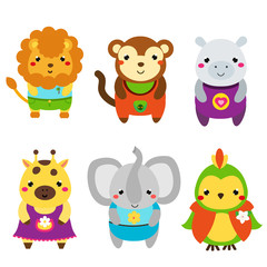 Cute African animals. Cartoon kawaii wildlife animals set