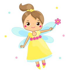 Cute fairy flapping magic wand. Cartoon little flying fairy, pixie, elf character