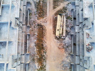 Aerial view of construction building