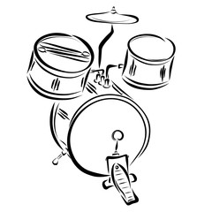 A kit of percussion instruments