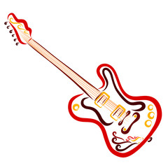 Beautiful colorful electric guitar with a picture of a bird