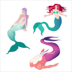 Mermaids isolated on white background. Vector illustration. Group of cutout objects. Fantastic creatures.