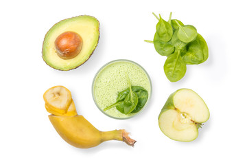 Healthy lifestyle concept - green smoothie and ingredients