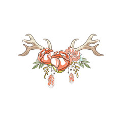 Deer horns with red rose flowers and plants, hand drawn floral composition with antlers vector Illustration on a white background