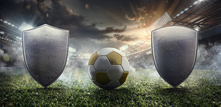 Sport Backgrounds. 3D illustration of the Soccer stadium with ball and metal shields.