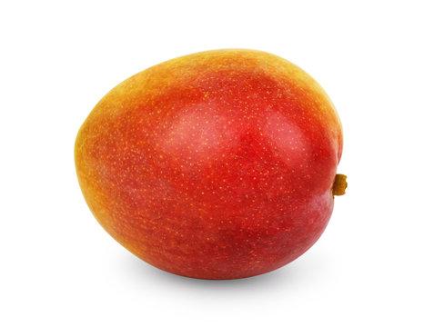 Ripe fresh mango on white background