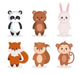 cute set animals characters vector illustration design