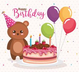 happy birthday card with bear teddy vector illustration design