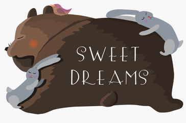 bear, rabbits and bird are fast asleep