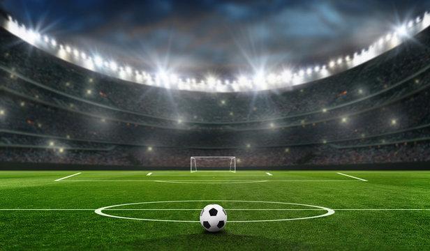 fußballfeld mit fussballtor