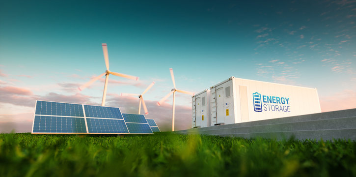 Concept of energy storage system. Renewable energy - photovoltaics, wind turbines and Li-ion battery container in morning fresh nature. 3d rendering.