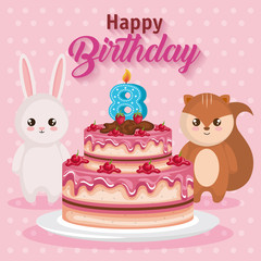 happy birthday card with chipmunk and rabbit vector illustration design