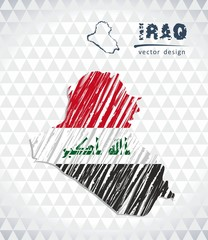 Iraq vector map with flag inside isolated on a white background. Sketch chalk hand drawn illustration