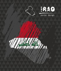 Iraq map with flag inside on the black background. Chalk sketch vector illustration
