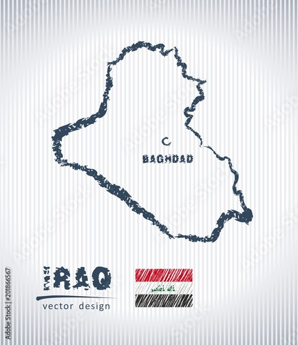 Iraq national vector drawing map on white background