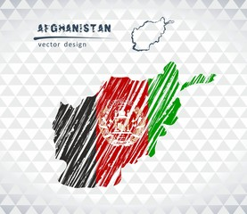 Afghanistan vector map with flag inside isolated on a white background. Sketch chalk hand drawn illustration