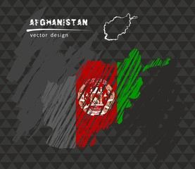 Afghanistan map with flag inside on the black background. Chalk sketch vector illustration