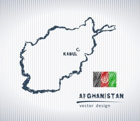 Afghanistan national vector drawing map on white background