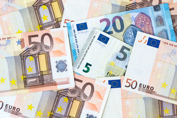 Background of Euro banknotes. Business, finance.