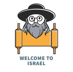 Welcome to Israel commercial banner with Jewish man and ingot