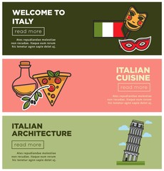 Italian cuisine and architecture Internet promo pages set
