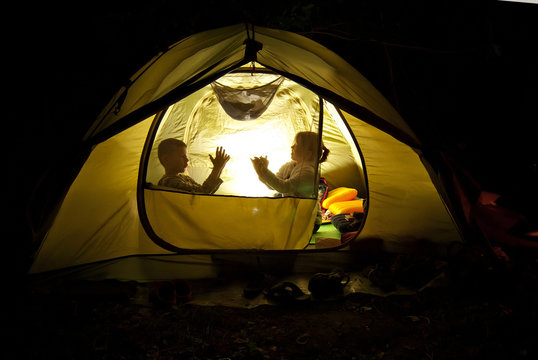 children in the nature near the tent