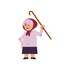 Old angry woman swearing and threatening with her walking-stick isolated on white background. Cute cartoon character of aged annoyed and furious female person. Vector illustration.