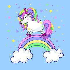 Vector cute illustration of unicorn