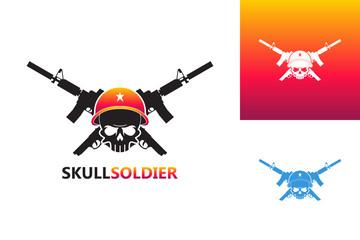 Skull Soldier Logo Template Design Vector, Emblem, Design Concept, Creative Symbol, Icon