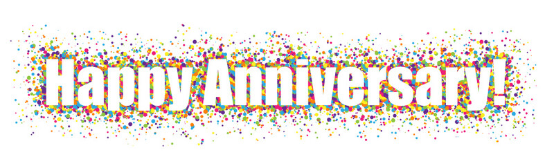 happy anniversary banner with colourful confetti buy this stock