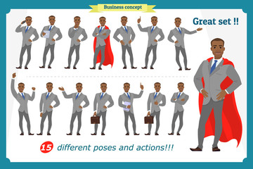 Set of businessman presenting in various action.Happy young black  African men in business suit.People character. Standing. Face,body elements for design, animation work.Isolated vector on white. Flat
