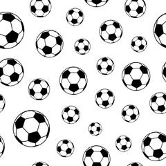 Seamless pattern of soccer balls, black on white